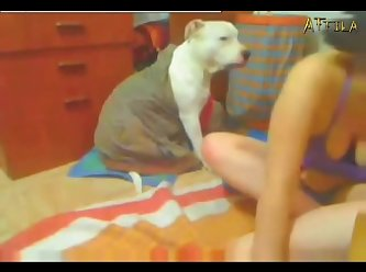1578 Two Lesbians In Webcam Play With Dog (part 5)